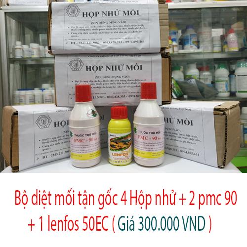 Bộ sản phẩm thuốc diệt mối tận gốc | 4 Hộp nhử mối + 2 PMC 90 + 1 lọ lenfos 50ec